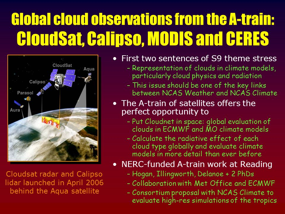 Global cloud observations from the A-train: CloudSat, Calipso, MODIS and CERES First two sentences of S9 theme stress –Representation of clouds in climate models, particularly cloud physics and radiation –This issue should be one of the key links between NCAS Weather and NCAS Climate The A-train of satellites offers the perfect opportunity to –Put Cloudnet in space: global evaluation of clouds in ECMWF and MO climate models –Calculate the radiative effect of each cloud type globally and evaluate climate models in more detail than ever before NERC-funded A-train work at Reading –Hogan, Illingworth, Delanoe + 2 PhDs –Collaboration with Met Office and ECMWF –Consortium proposal with NCAS Climate to evaluate high-res simulations of the tropics Cloudsat radar and Calipso lidar launched in April 2006 behind the Aqua satellite