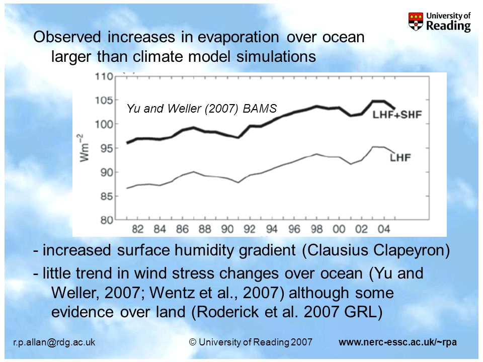 r.p.allan@rdg.ac.uk© University of Reading 2007www.nerc-essc.ac.uk/~rpa Observed increases in evaporation over ocean larger than climate model simulations Yu and Weller (2007) BAMS - increased surface humidity gradient (Clausius Clapeyron) - little trend in wind stress changes over ocean (Yu and Weller, 2007; Wentz et al., 2007) although some evidence over land (Roderick et al.