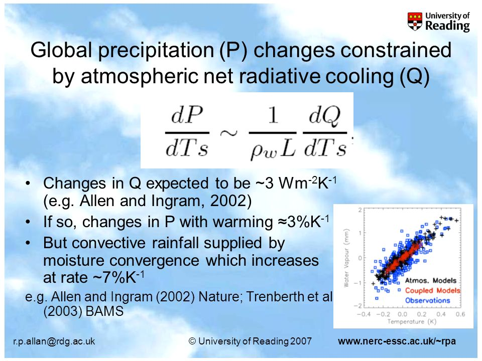 r.p.allan@rdg.ac.uk© University of Reading 2007www.nerc-essc.ac.uk/~rpa GPCP CMAP AMIP3 Model precipitation response smaller than the satellite observations see also discussion in: Wentz et al.