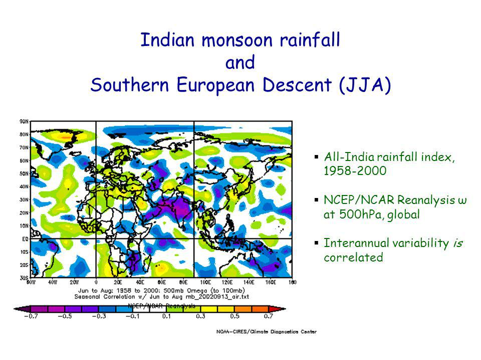 All-India rainfall index, NCEP/NCAR Reanalysis ω at 500hPa, global Interannual variability is correlated Indian monsoon rainfall and Southern European Descent (JJA)