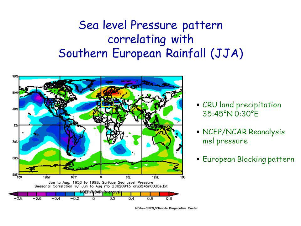 CRU land precipitation 35:45°N 0:30°E NCEP/NCAR Reanalysis msl pressure European Blocking pattern Sea level Pressure pattern correlating with Southern European Rainfall (JJA)