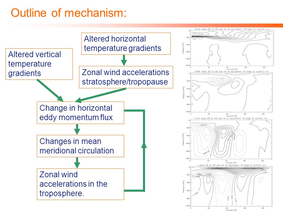 Outline of mechanism: Altered vertical temperature gradients Zonal wind accelerations stratosphere/tropopause Change in horizontal eddy momentum flux