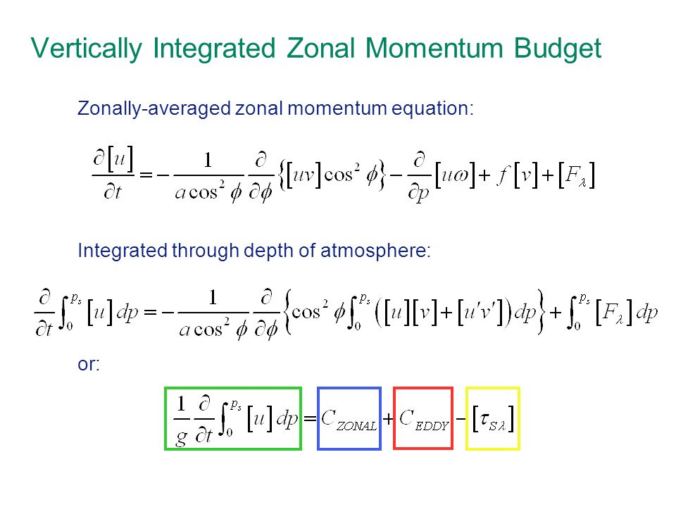 Zonally-averaged zonal momentum equation: Integrated through depth of atmosphere: or: Vertically Integrated Zonal Momentum Budget