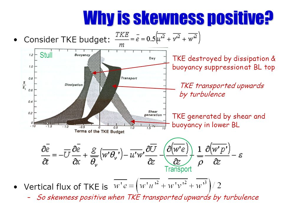 Why is skewness positive? Consider TKE budget: Vertical flux of TKE is –So skewness positive when TKE transported upwards by turbulence TKE generated