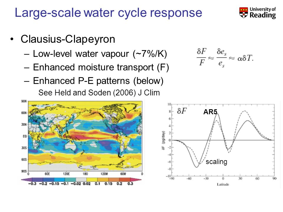 Large-scale water cycle response Clausius-Clapeyron –Low-level water vapour (~7%/K) –Enhanced moisture transport (F) –Enhanced P-E patterns (below) See Held and Soden (2006) J Clim AR5 scaling