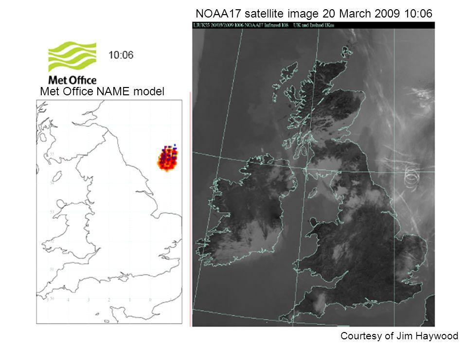 Courtesy of Jim Haywood Met Office NAME model NOAA17 satellite image 20 March 2009 10:06