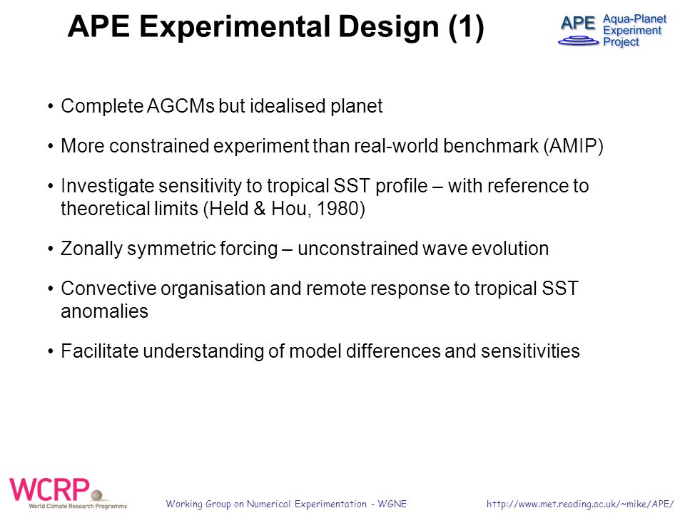 Working Group on Numerical Experimentation - WGNE   APE Experimental Design (1) Complete AGCMs but idealised planet More constrained experiment than real-world benchmark (AMIP) Investigate sensitivity to tropical SST profile – with reference to theoretical limits (Held & Hou, 1980) Zonally symmetric forcing – unconstrained wave evolution Convective organisation and remote response to tropical SST anomalies Facilitate understanding of model differences and sensitivities