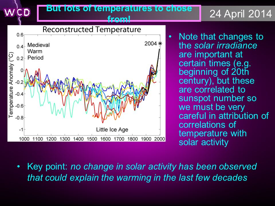 24 April 2014 But lots of temperatures to chose from! Key point: no change in solar activity has been observed that could explain the warming in the l