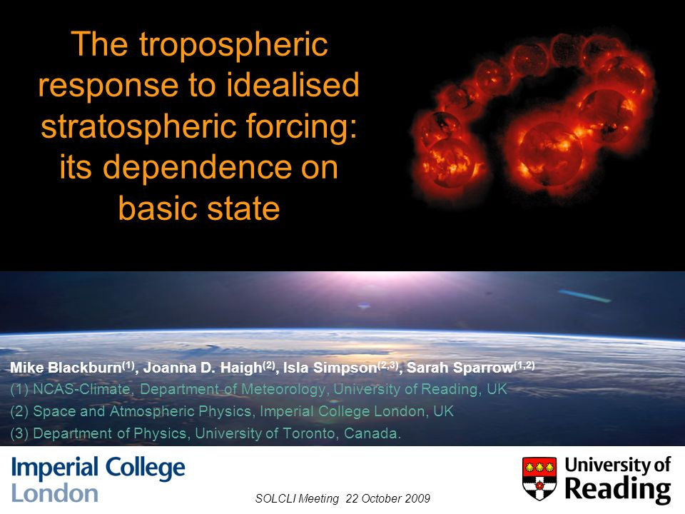 Outline Tropospheric response to idealised stratospheric heating (review) Dependence on tropospheric climatological basic state equilibrium response spin-up ensembles – mechanisms Relationship to unforced annular variability