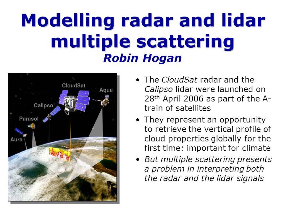 Modelling radar and lidar multiple scattering Modelling radar and lidar multiple scattering Robin Hogan The CloudSat radar and the Calipso lidar were