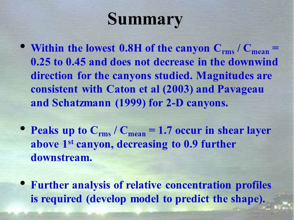 2-D Relative Concentration C rms /C mean Caton et al (2003) Single cavity, W/H = 1 0.44 W/H=1.5 W/H=0.5