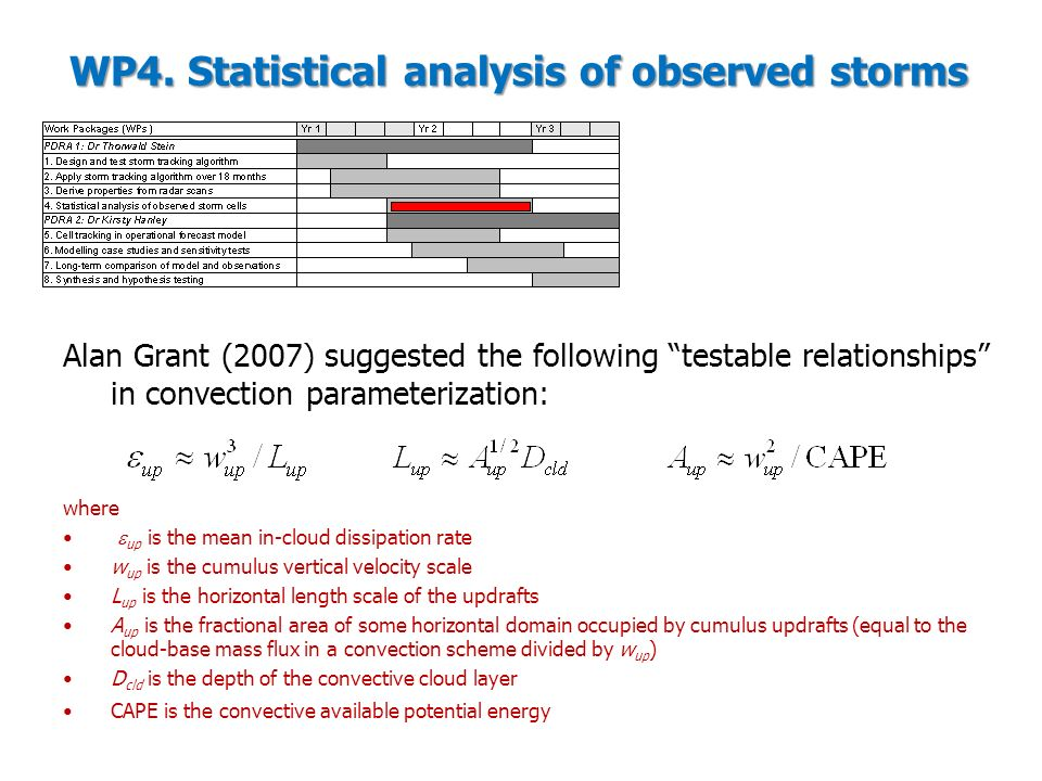 WP4. Statistical analysis of observed storms Alan Grant (2007) suggested the following testable relationships in convection parameterization: where up
