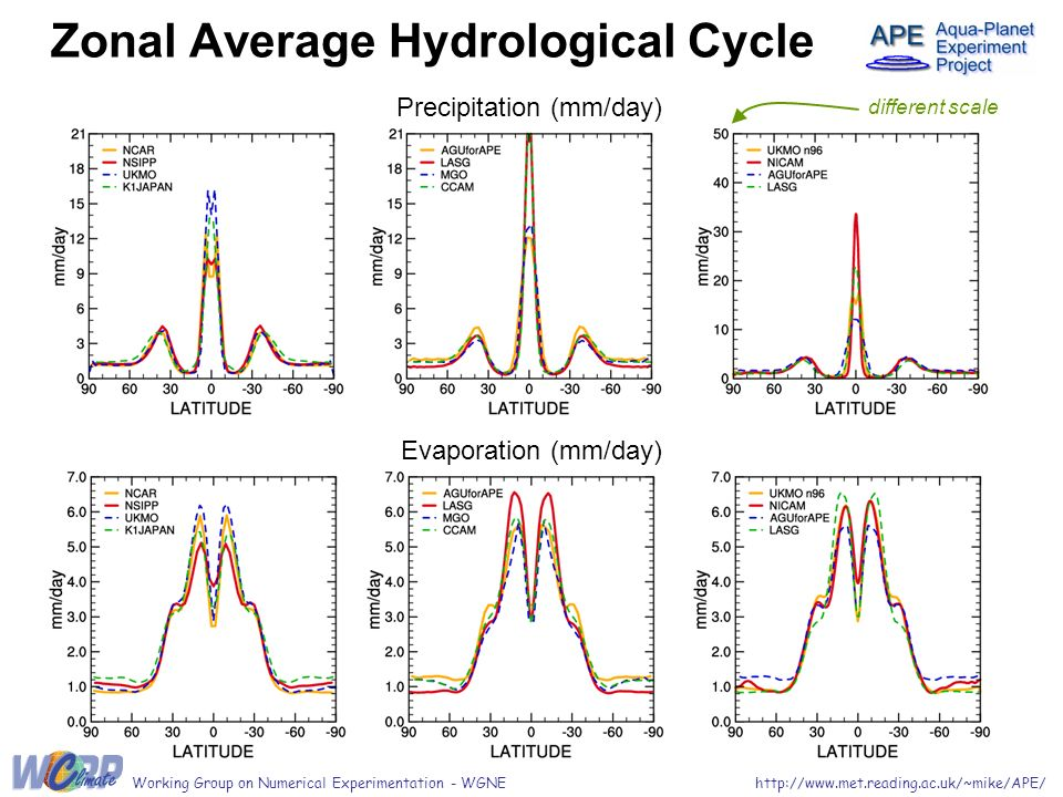 Zonal Average Hydrological Cycle Precipitation (mm/day) Evaporation (mm/day) different scale http://www.met.reading.ac.uk/~mike/APE/Working Group on Numerical Experimentation - WGNE