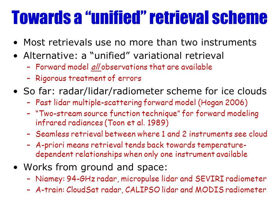 Towards a unified retrieval scheme Most retrievals use no more than two instruments Alternative: a unified variational retrieval –Forward model all ob