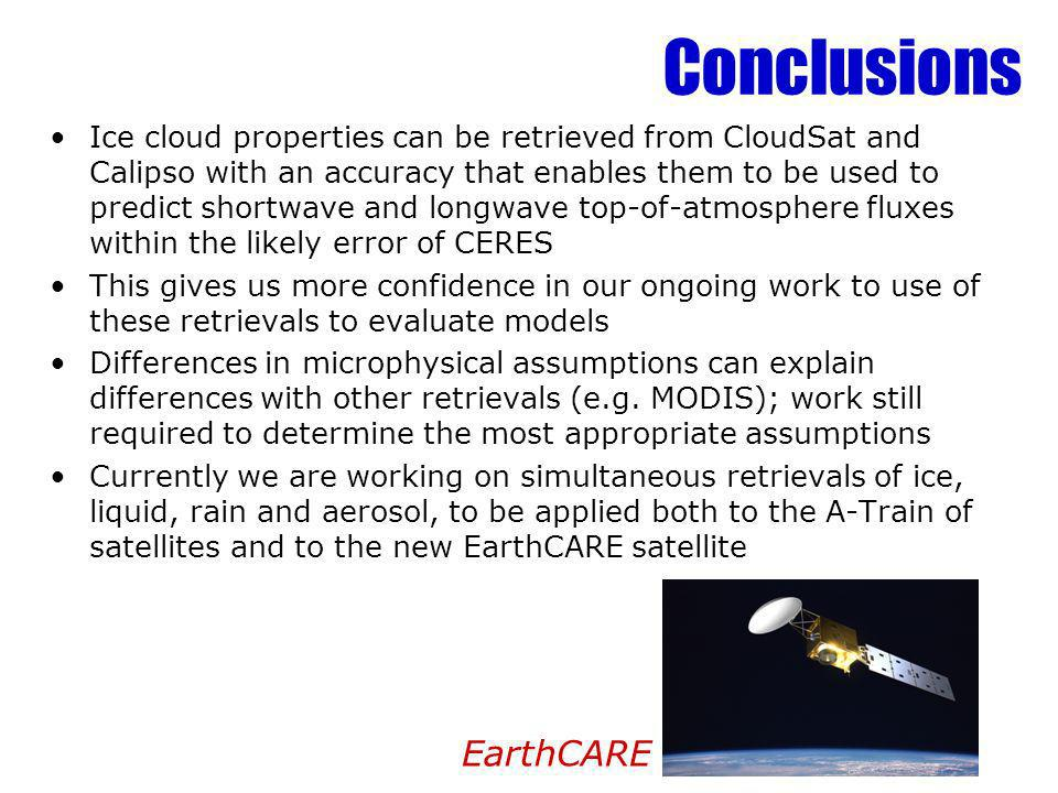 Conclusions Ice cloud properties can be retrieved from CloudSat and Calipso with an accuracy that enables them to be used to predict shortwave and lon