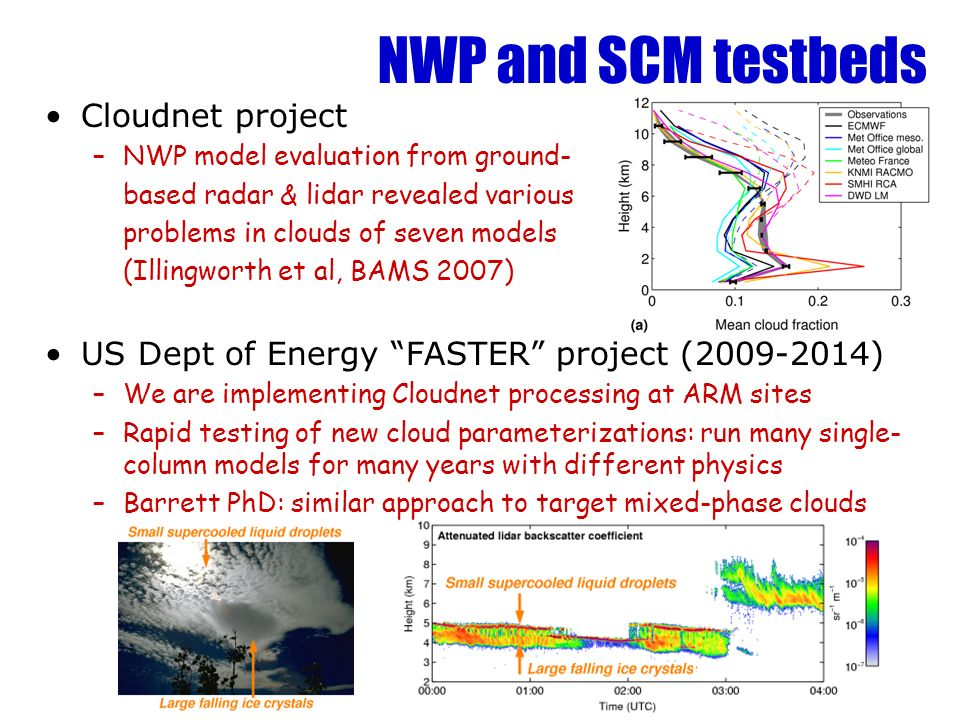 NWP and SCM testbeds Cloudnet project –NWP model evaluation from ground- based radar & lidar revealed various problems in clouds of seven models (Illi