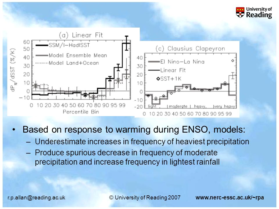 r.p.allan@reading.ac.uk© University of Reading 2007www.nerc-essc.ac.uk/~rpa Based on response to warming during ENSO, models: –Underestimate increases