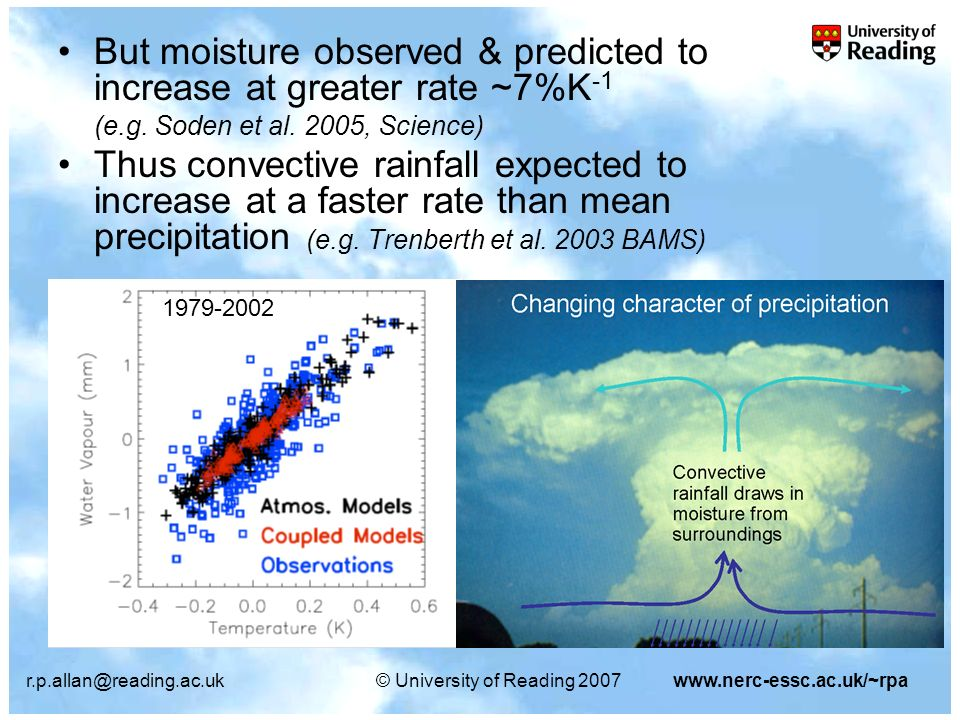 r.p.allan@reading.ac.uk© University of Reading 2007www.nerc-essc.ac.uk/~rpa But moisture observed & predicted to increase at greater rate ~7%K -1 (e.g