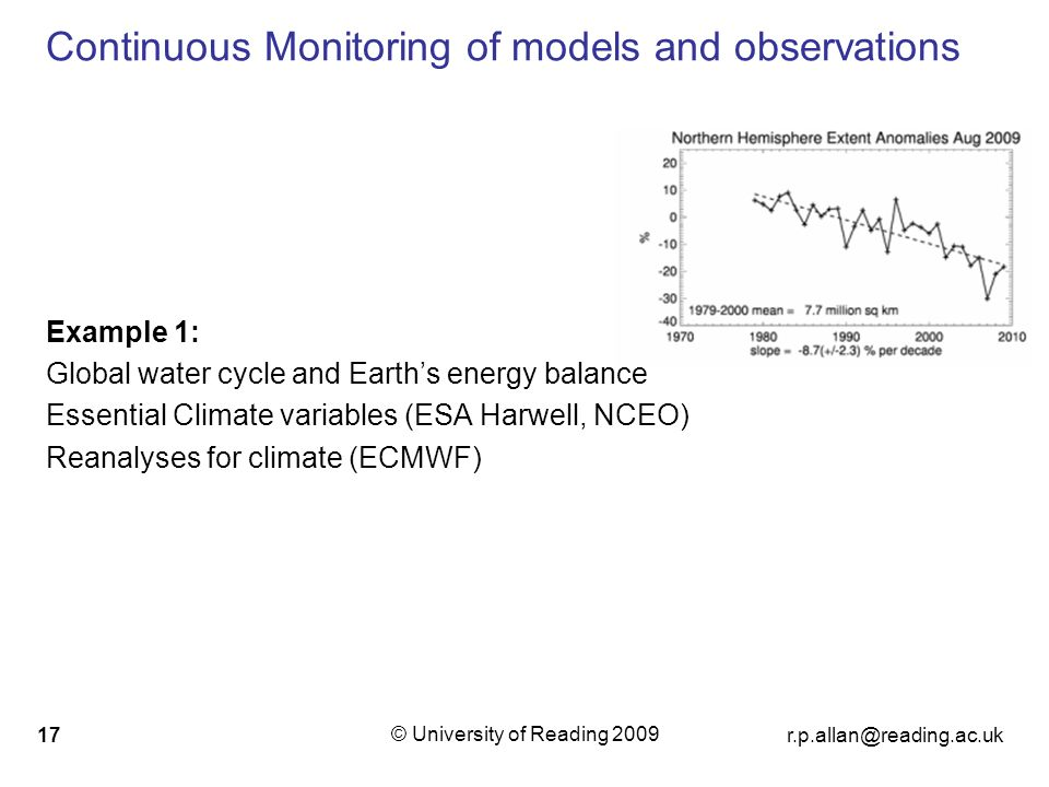 © University of Reading Continuous Monitoring of models and observations Example 1: Global water cycle and Earths energy balance Essential Climate variables (ESA Harwell, NCEO) Reanalyses for climate (ECMWF)