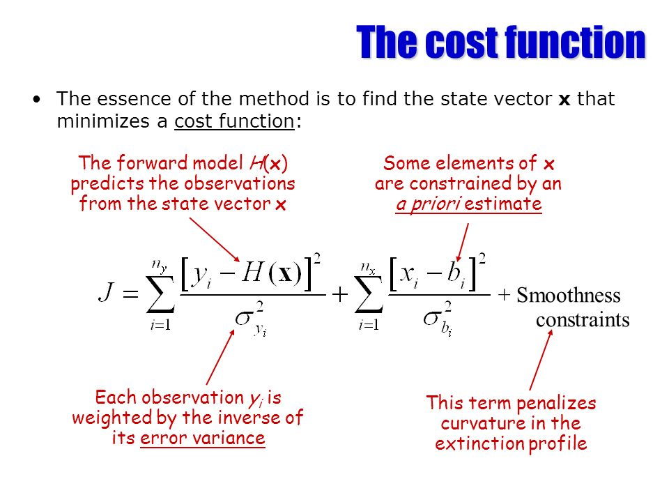 Solution method An iterative method is required to minimize the cost function New ray of data Locate cloud with radar & lidar Define elements of x First guess of x Forward model Predict measurements y from state vector x using forward model H(x) Predict the Jacobian H=y i /x j Has solution converged.