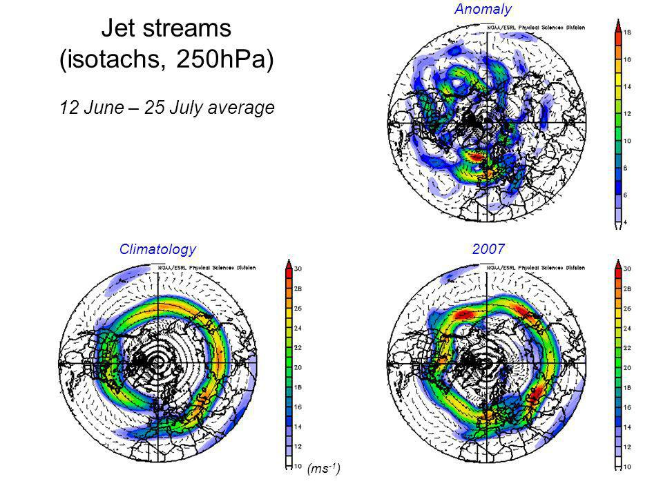 Jet streams (isotachs, 250hPa) 12 June – 25 July average (ms -1 )