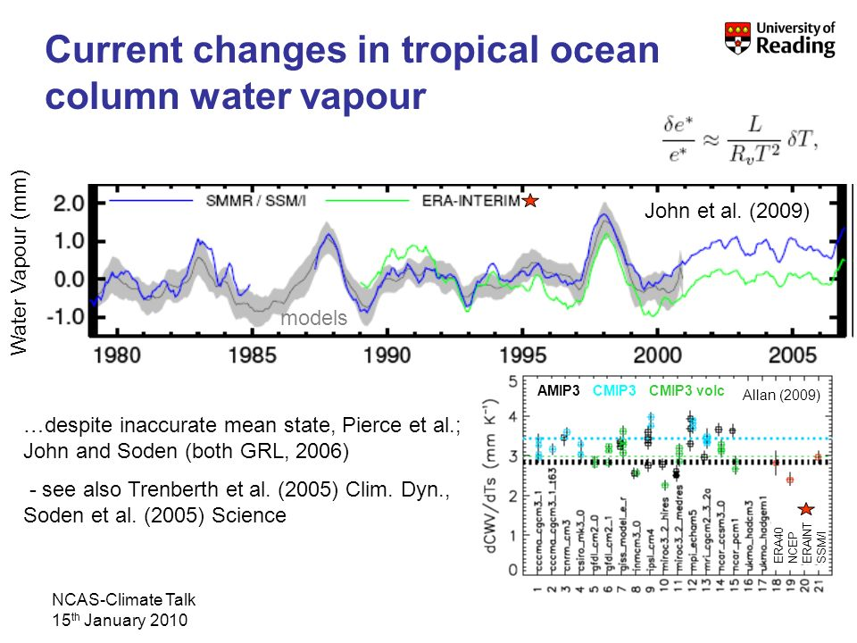NCAS-Climate Talk 15 th January 2010 Current changes in tropical ocean column water vapour …despite inaccurate mean state, Pierce et al.; John and Soden (both GRL, 2006) - see also Trenberth et al.