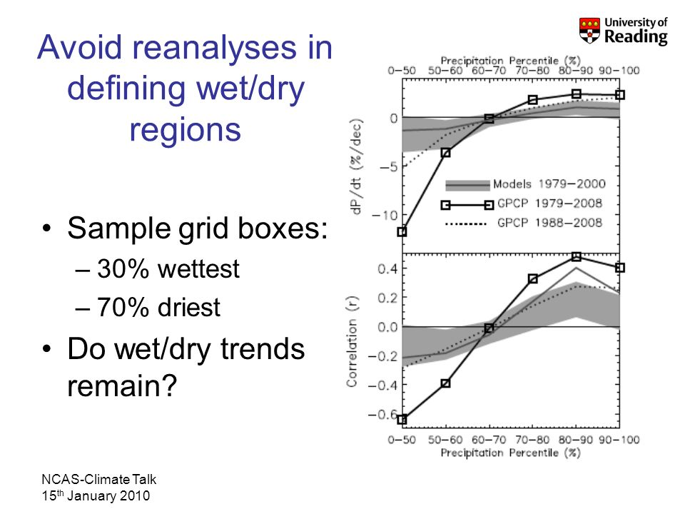 NCAS-Climate Talk 15 th January 2010 Avoid reanalyses in defining wet/dry regions Sample grid boxes: –30% wettest –70% driest Do wet/dry trends remain