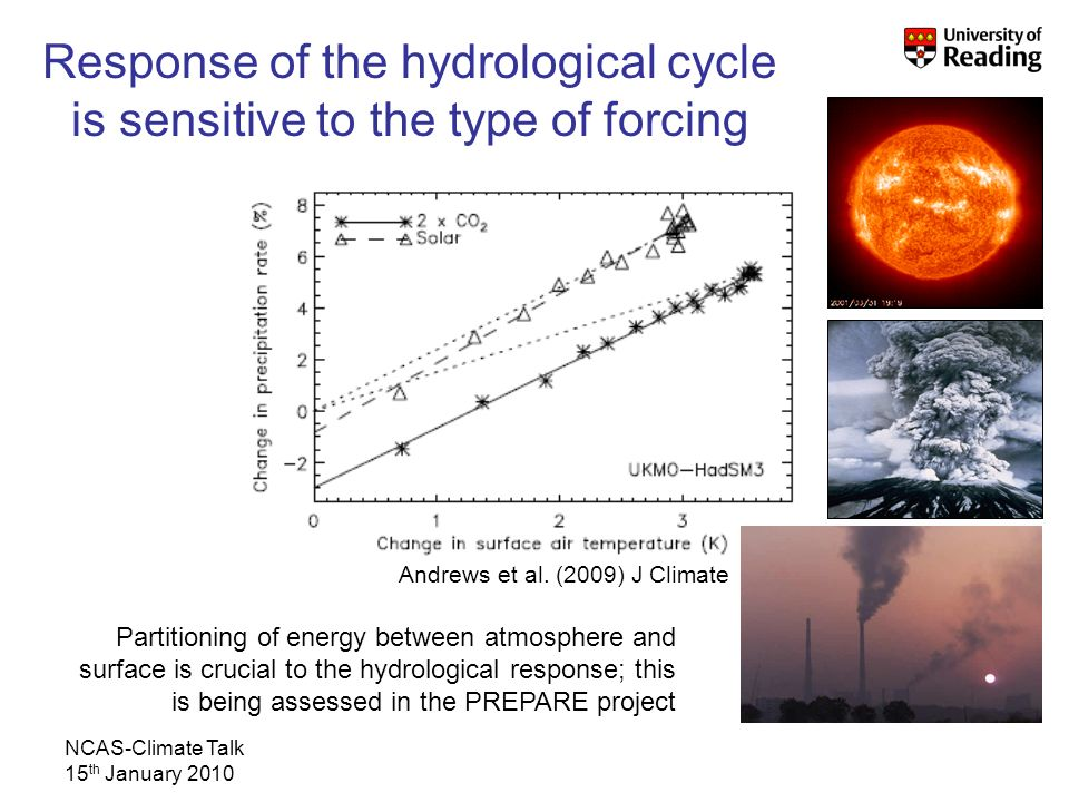 NCAS-Climate Talk 15 th January 2010 Response of the hydrological cycle is sensitive to the type of forcing Andrews et al.