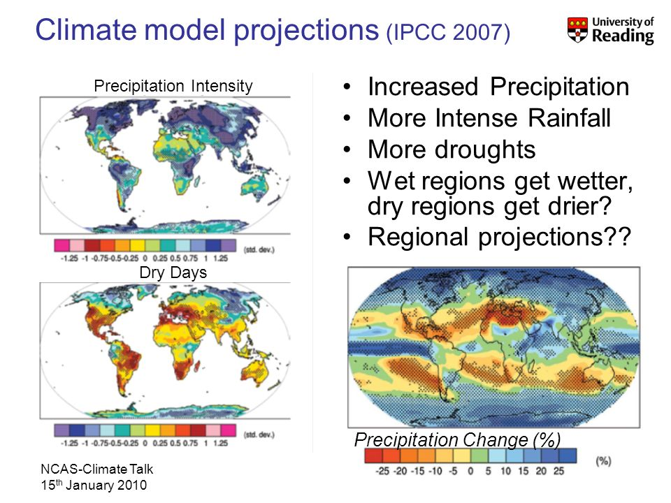 NCAS-Climate Talk 15 th January 2010 Increased Precipitation More Intense Rainfall More droughts Wet regions get wetter, dry regions get drier.