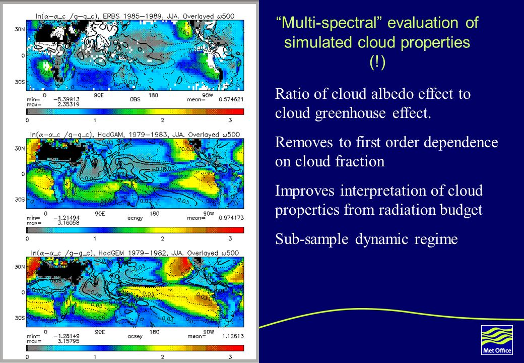 5 Multi-spectral evaluation of simulated cloud properties (!) Ratio of cloud albedo effect to cloud greenhouse effect. Removes to first order dependen