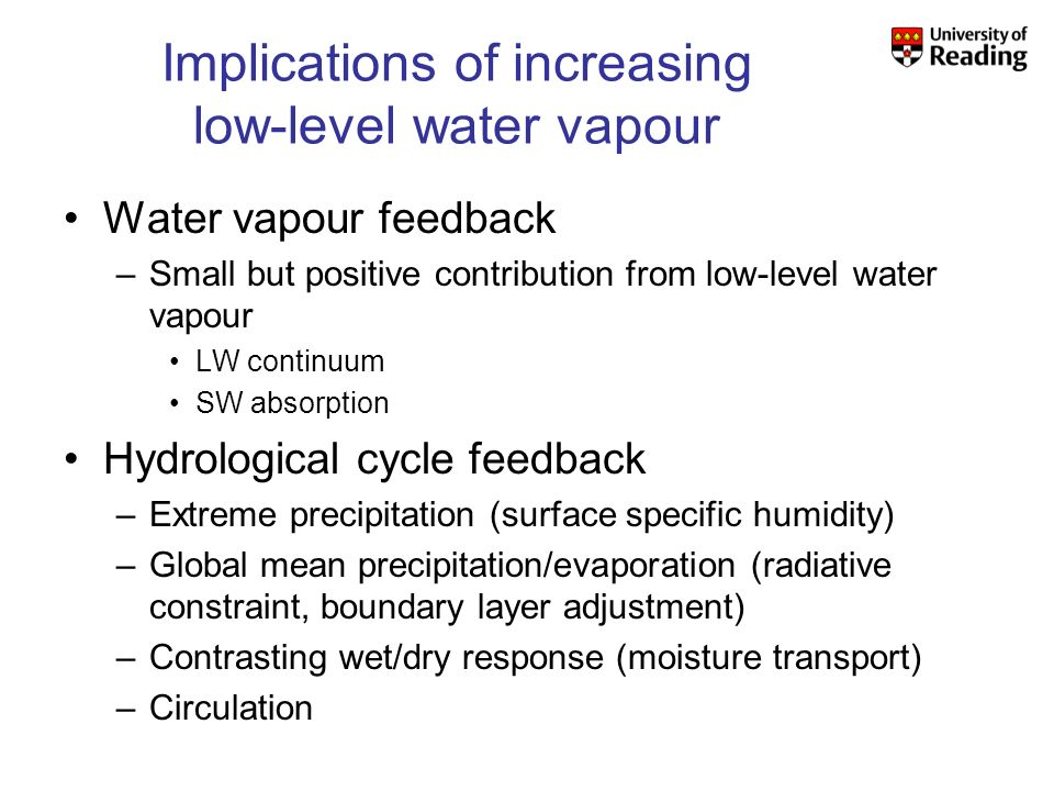 Implications of increasing low-level water vapour Water vapour feedback –Small but positive contribution from low-level water vapour LW continuum SW absorption Hydrological cycle feedback –Extreme precipitation (surface specific humidity) –Global mean precipitation/evaporation (radiative constraint, boundary layer adjustment) –Contrasting wet/dry response (moisture transport) –Circulation