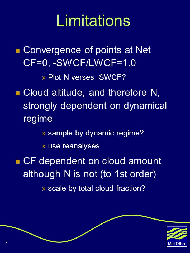 3 Limitations Convergence of points at Net CF=0, -SWCF/LWCF=1.0 »Plot N verses -SWCF.