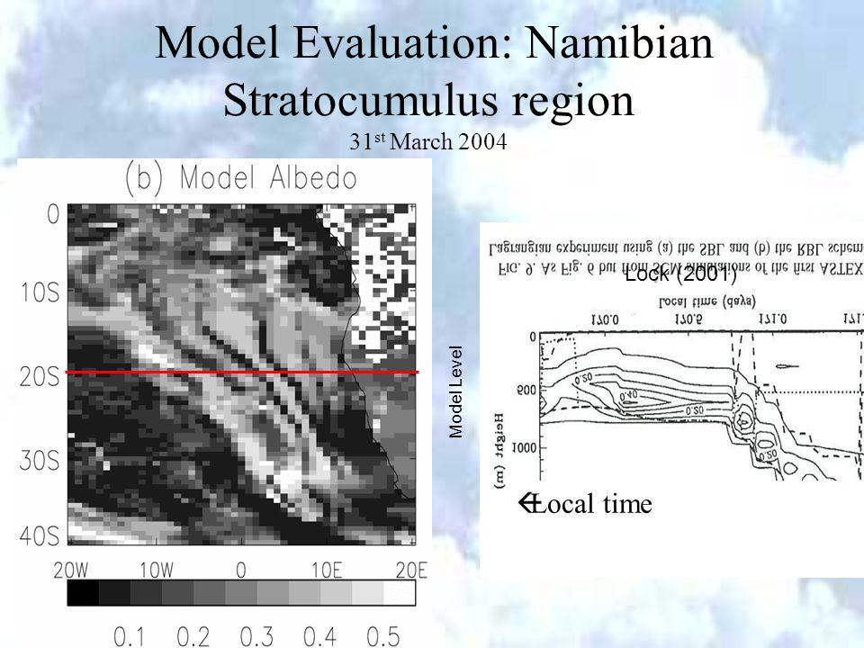 EUMETSAT 2006 Helsinki Model Evaluation: Namibian Stratocumulus region 31 st March 2004 Model Level Lock (2001) Local time