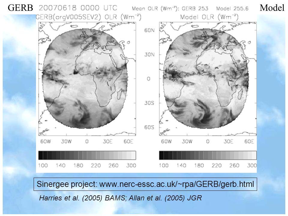 Sinergee project: www.nerc-essc.ac.uk/~rpa/GERB/gerb.html GERB Model Harries et al. (2005) BAMS; Allan et al. (2005) JGR
