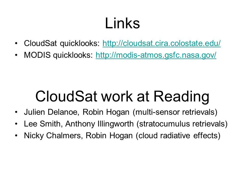 Links CloudSat quicklooks: http://cloudsat.cira.colostate.edu/http://cloudsat.cira.colostate.edu/ MODIS quicklooks: http://modis-atmos.gsfc.nasa.gov/http://modis-atmos.gsfc.nasa.gov/ CloudSat work at Reading Julien Delanoe, Robin Hogan (multi-sensor retrievals) Lee Smith, Anthony Illingworth (stratocumulus retrievals) Nicky Chalmers, Robin Hogan (cloud radiative effects)