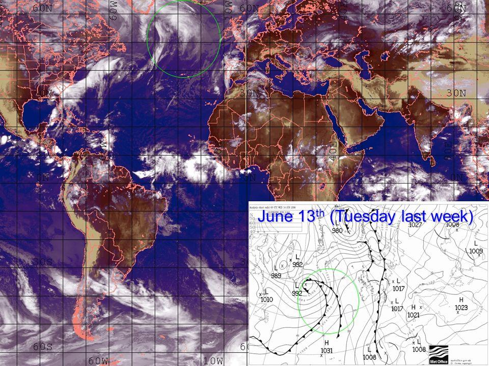 June 13 th (Tuesday last week)