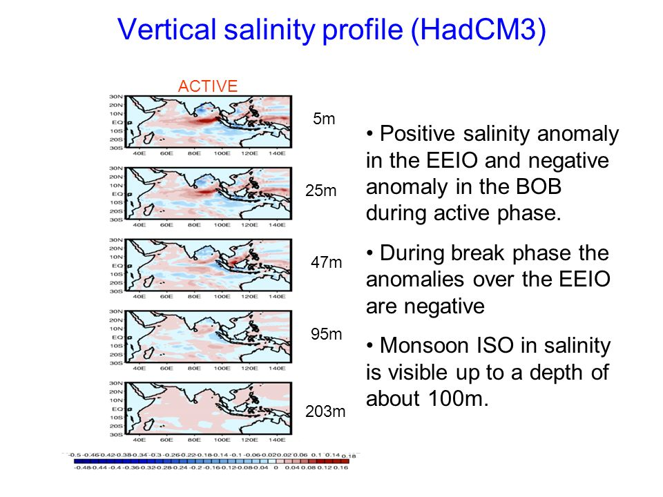 Vertical salinity profile (HadCM3) ACTIVE 5m 25m 47m 95m 203m Positive salinity anomaly in the EEIO and negative anomaly in the BOB during active phas