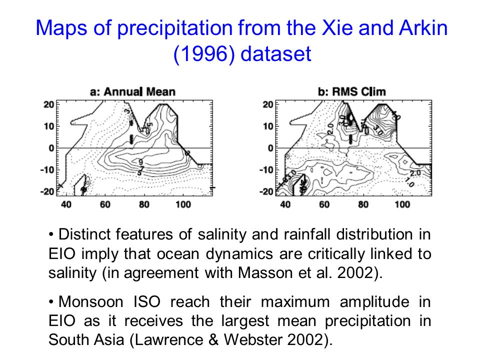 Maps of precipitation from the Xie and Arkin (1996) dataset Distinct features of salinity and rainfall distribution in EIO imply that ocean dynamics a