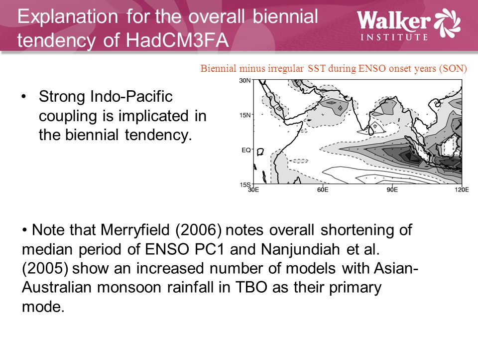 Strong Indo-Pacific coupling is implicated in the biennial tendency.