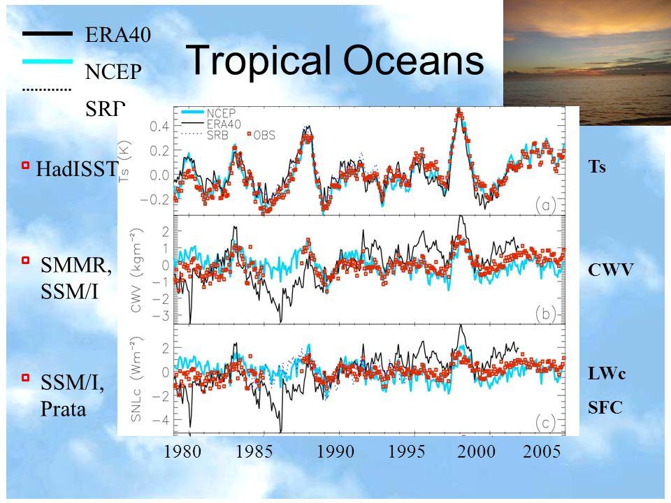 Tropical Oceans 1980 1985 1990 1995 2000 2005 Ts CWV LWc SFC ERA40 NCEP SRB SMMR, SSM/I SSM/I, Prata HadISST