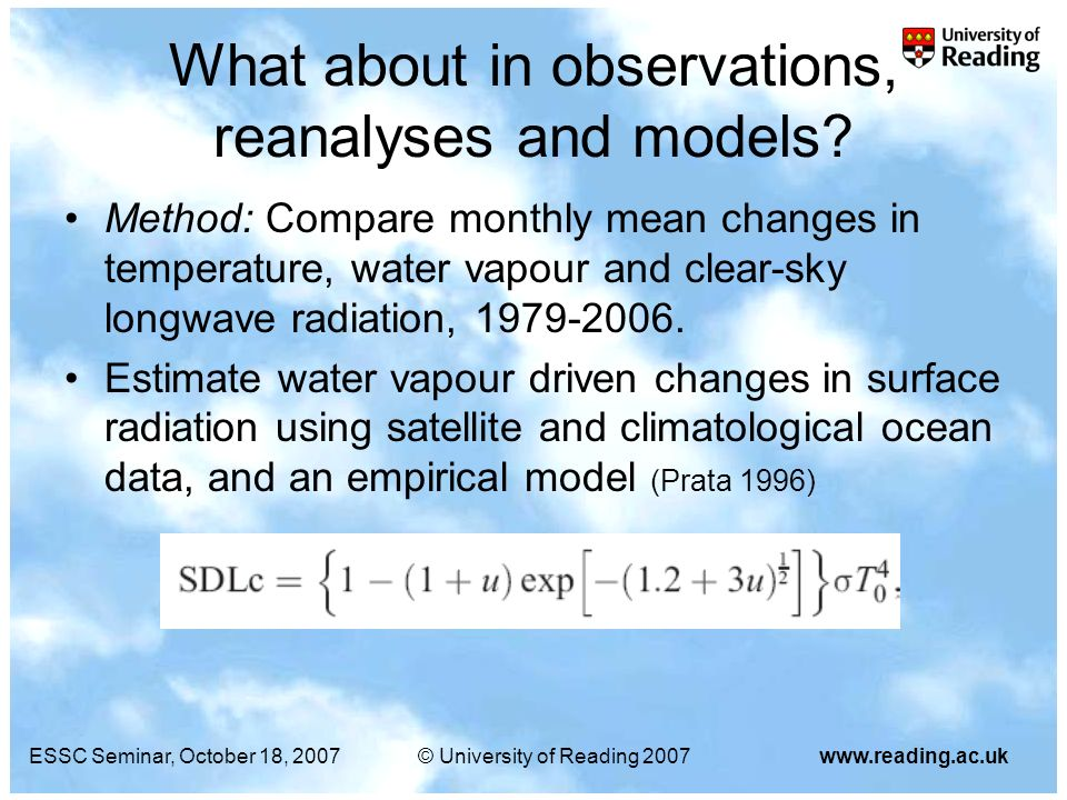 ESSC Seminar, October 18, 2007© University of Reading 2007www.reading.ac.uk What about in observations, reanalyses and models? Method: Compare monthly