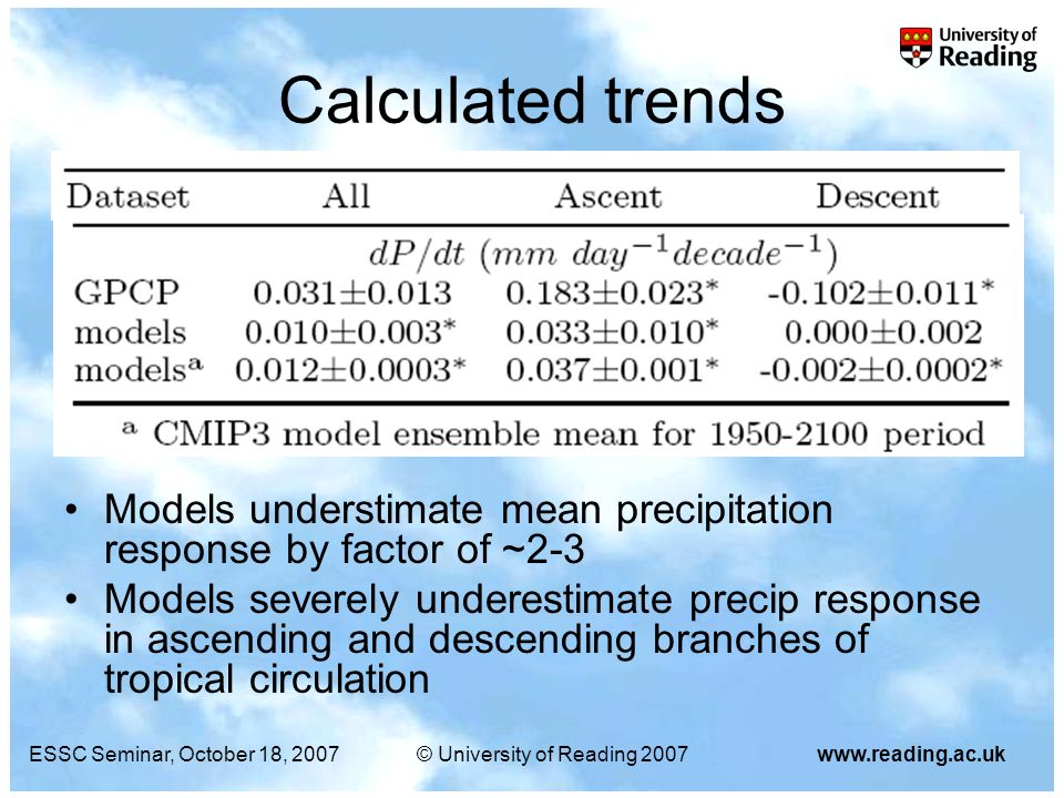 ESSC Seminar, October 18, 2007© University of Reading 2007www.reading.ac.uk Calculated trends Models understimate mean precipitation response by facto