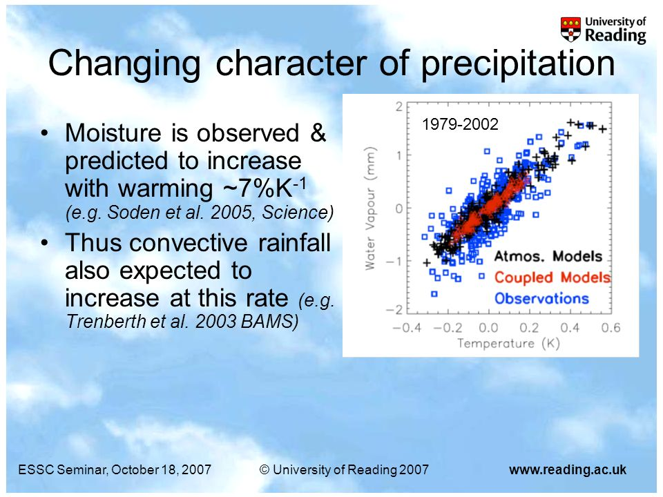 ESSC Seminar, October 18, 2007© University of Reading 2007www.reading.ac.uk Changing character of precipitation Moisture is observed & predicted to in