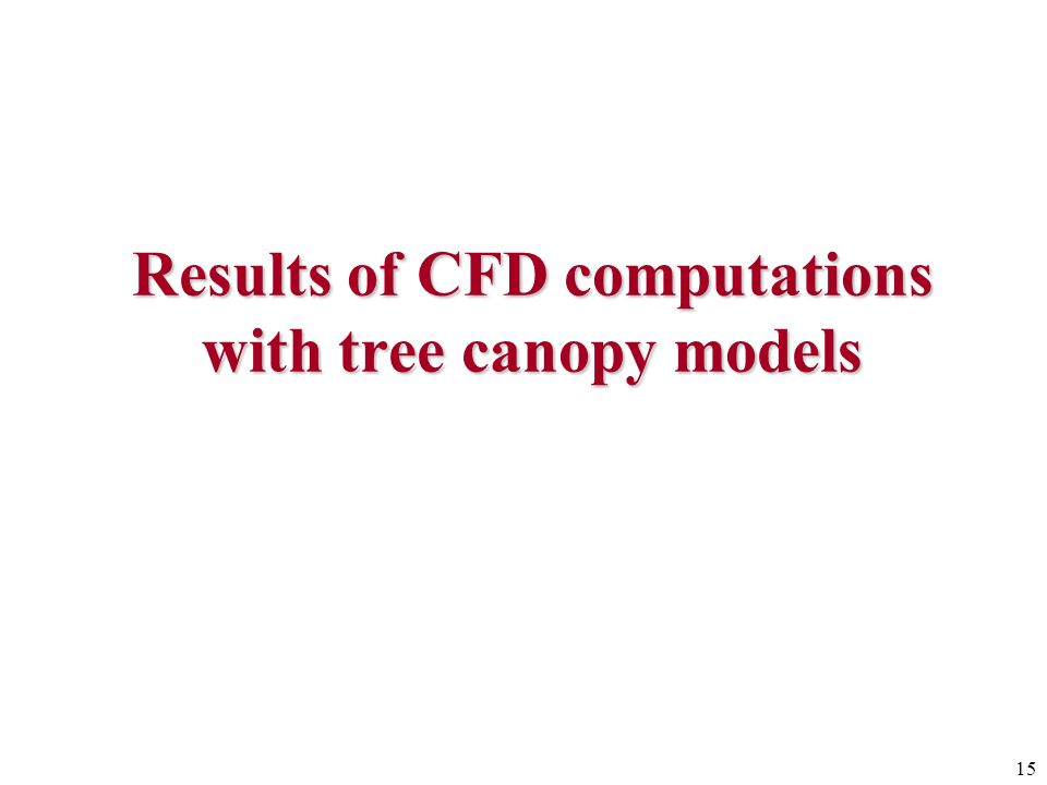 15 Results of CFD computations with tree canopy models