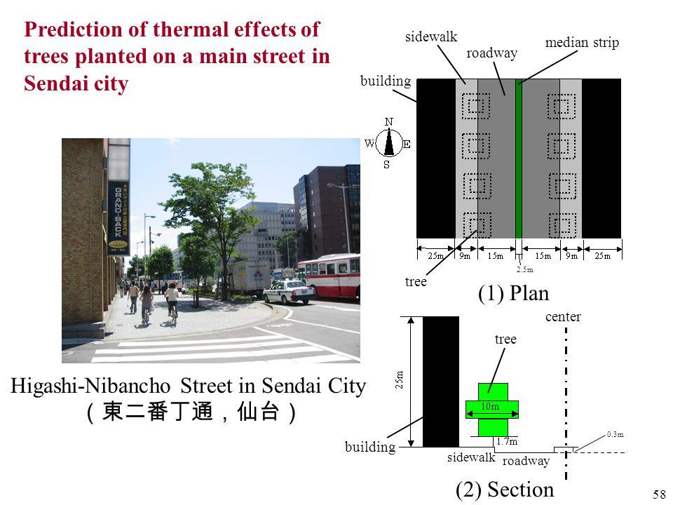 58 2.5m Higashi-Nibancho Street in Sendai City (1) Plan (2) Section building sidewalk roadway tree median strip tree building roadway sidewalk 0.3m ce