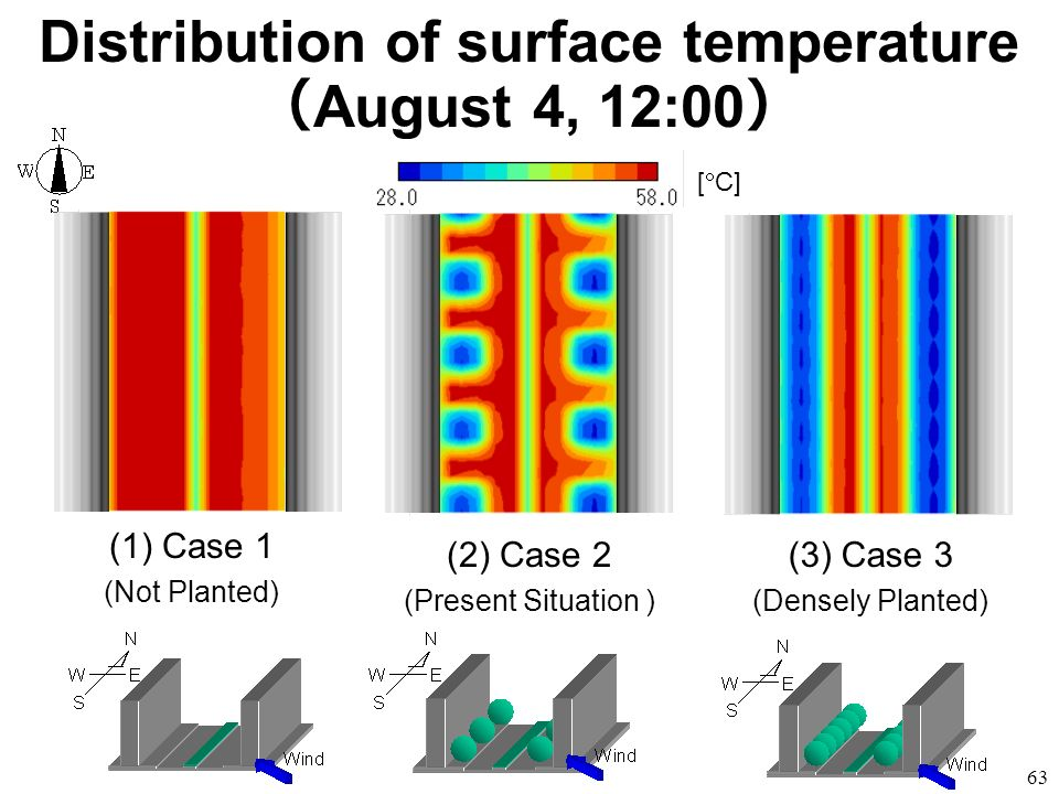63 (1)Case 1 (Not Planted) (2) Case 2 (Present Situation ) (3) Case 3 (Densely Planted) Distribution of surface temperature August 4, 12:00 [ C]