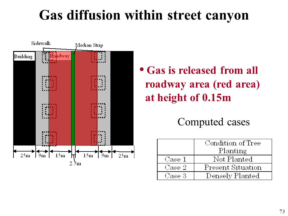 73 Gas diffusion within street canyon Gas is released from all roadway area (red area) at height of 0.15m Computed cases