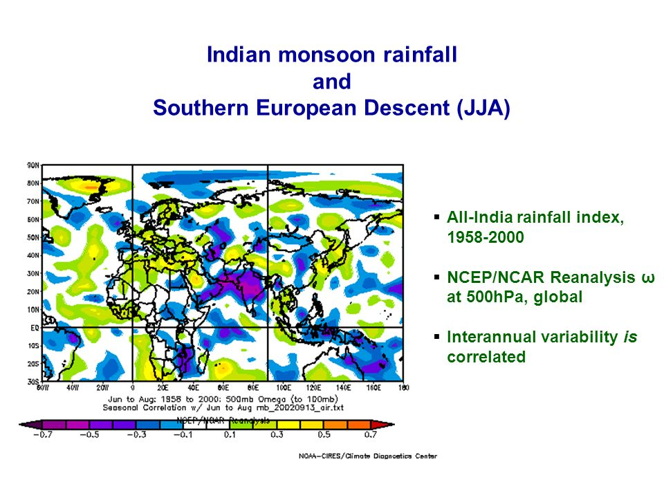 11 NCAS SMA presentation 14/15 September 2004 All-India rainfall index, 1958-2000 NCEP/NCAR Reanalysis ω at 500hPa, global Interannual variability is correlated Indian monsoon rainfall and Southern European Descent (JJA)