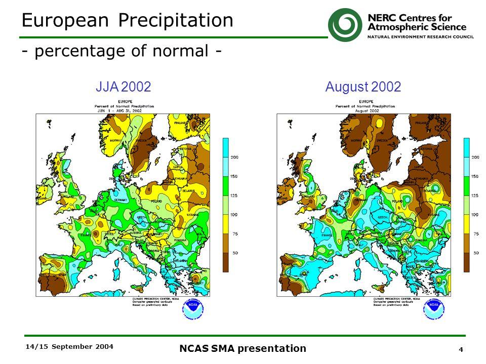 4 NCAS SMA presentation 14/15 September 2004 JJA 2002August 2002 European Precipitation - percentage of normal -
