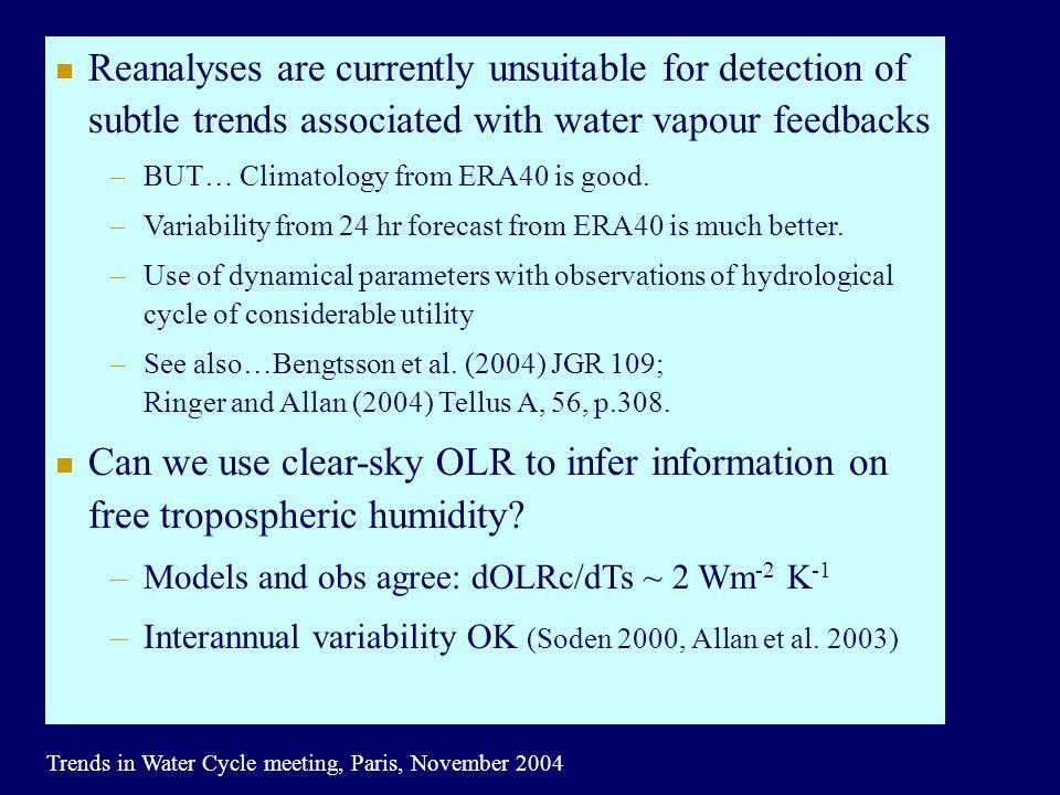 Trends in Water Cycle meeting, Paris, November 2004 Allan et al.